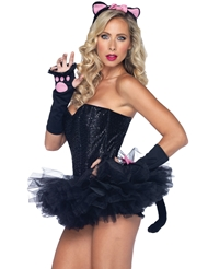 Alternate back view of 3PC PRETTY KITTY COSTUME KIT