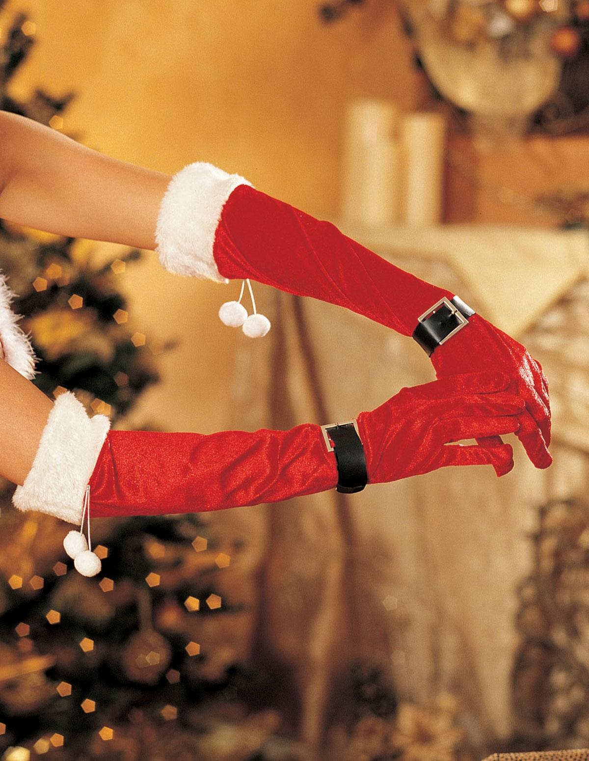 Maribou Trim Velvet Gloves