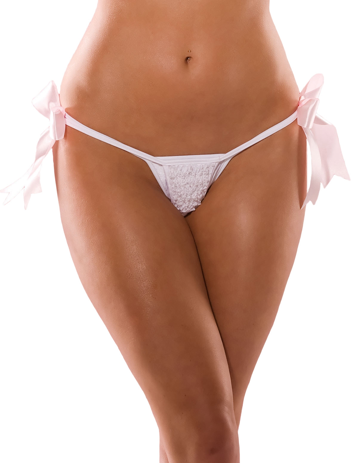 Ruffle Trim Crotchless G-String - Plus