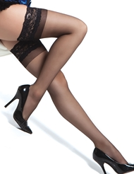 Alternate front view of SILICONE LACE TOP SHEER STOCKINGS