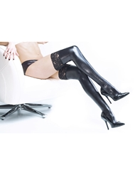 LACE TOP WET LOOK THIGH HIGHS - ALL SIZES