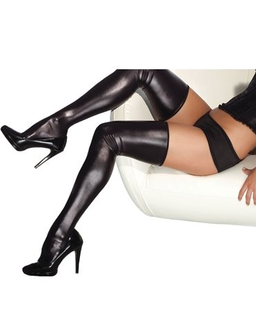 WET LOOK THIGH HIGH STOCKINGS - ALL SIZES