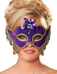 Alternate front view of VELVET MARDI GRAS MASK