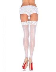 SHEER LACE TOP STOCKINGS W/BACKSEAM