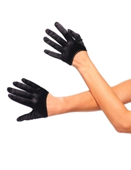 Alternate front view of CROP SATIN GLOVES