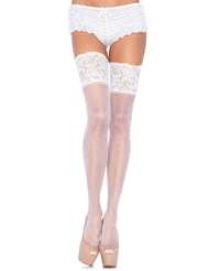 Alternate front view of 5 INCH LACE TOP PLUS SIZE THIGH HIGH