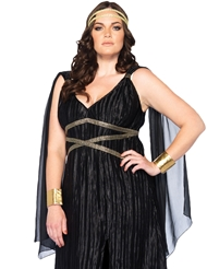 Alternate front view of 3PC DARK GODDESS PLUS SIZE COSTUME