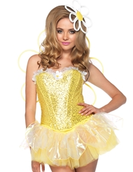 Alternate front view of 4PC DAISY DOLL COSTUME