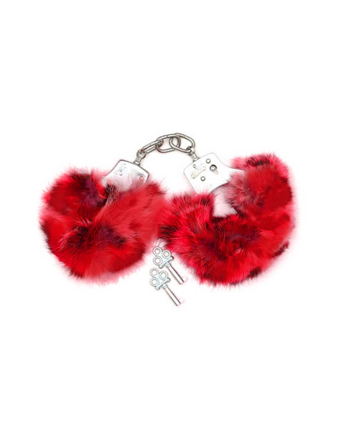 Rabbit Fur Handcuffs Red